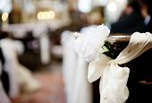 foto of church interior  - Interior of beautiful european church ready for wedding ceremony - JPG