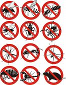 stock photo of parasite  - black and white symbols of pests and parasites - JPG