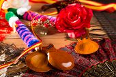 foto of castanets  - Espana typical from Spain with castanets rose fan bullfighter and flamenco comb - JPG