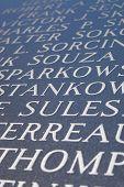 pic of iwo  - Abstract closeup of engraved names on the Iwo Jima war memorial - JPG