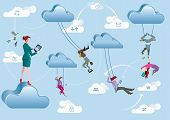 stock photo of swings  - Business men and business women are working in the cloud like acrobats swinging between clouds and cooperating between them - JPG
