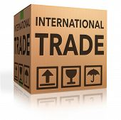 stock photo of international trade  - international trade on global and worldwide market world economy freight transportation for import and export - JPG