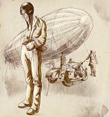 stock photo of sidecar  - Vintage hand drawn illustration from the series - JPG