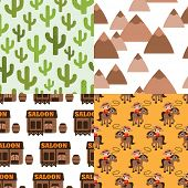 image of west village  - Seamless kids cowboy saloon wild west selection background pattern set in vector - JPG