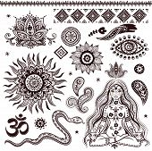 picture of om  - Set of ornamental Indian elements and symbols - JPG