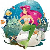 image of mermaid  - Vector illustration of a mermaid and her underwater world - JPG