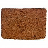 pic of coir  - A compressed bale of ground coconut shell fibers  - JPG