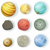 stock photo of halo  - Illustration of a set of various planets moons asteroid and earth globes isolated on white for scifi backgrounds - JPG