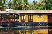 pic of alleppey  - House boat close up in backwaters at coconut palms background in alappuzha Kerala India - JPG