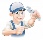 stock photo of adjustable-spanner  - An illustration of a cartoon mechanic or plumber with an adjustable wrench or spanner - JPG