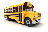 foto of truck-stop  - 3d school bus on white background - JPG