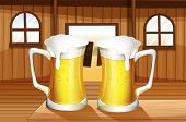 Illustration of a table with two mugs of beer
