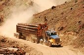 picture of logging truck  - A loaded log truck on a logging operation or  - JPG