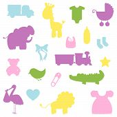 stock photo of alligator baby  - Bright Vector Collection of Baby Shower Silhouettes - JPG