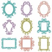 pic of edwardian  - Detailed Vector Set of Baroque Frame Silhouettes - JPG