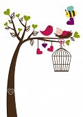 foto of caged  - Birds and Bees Baby Shower Invitation  Template - JPG