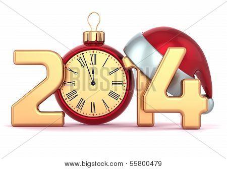 Happy New Year 2014 alarm clock Santa hat Christmas ball decoration holidays ornament