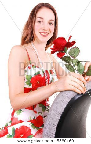 Pretty Girl In Dress With Rose.