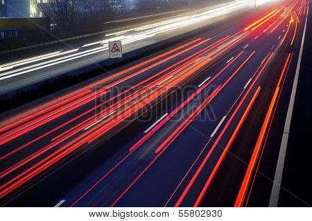 Light Trail View At A Busy Highway