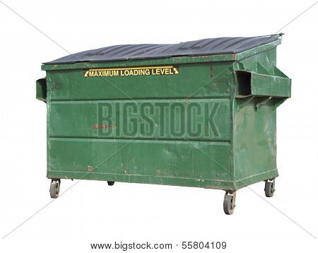 Green Trash or Recycle Dumpster Isolated On A White Background with Clipping Path.