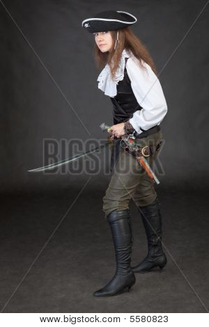 Pirate Girl With Pistol And Saber