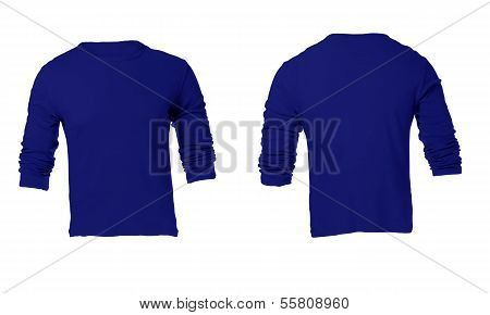 Men's Blank Blue Long Sleeved Shirt Template