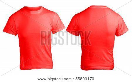 Men's Blank Red Shirt Template