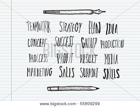 Business buzz words on lined paper