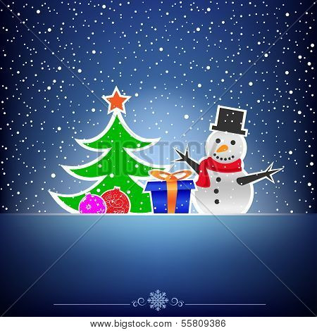 Christmas dark snow blue card