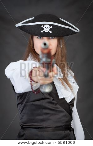 Pirate Woman With Old Pistol