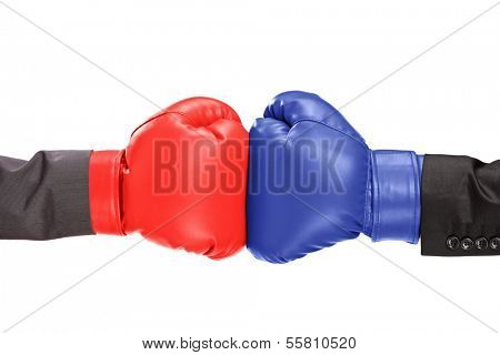 Two boxing gloves isolated on white background