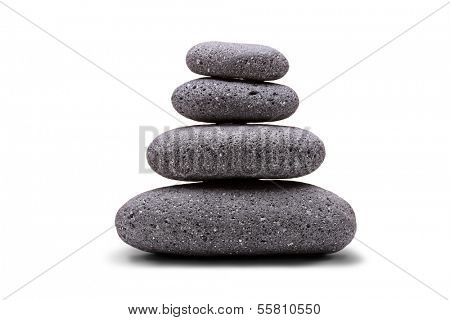 Stack of balanced stones isolated on white background