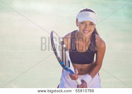 Professional Female Tennis Player On Court