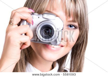 Young Woman With Digital Camera