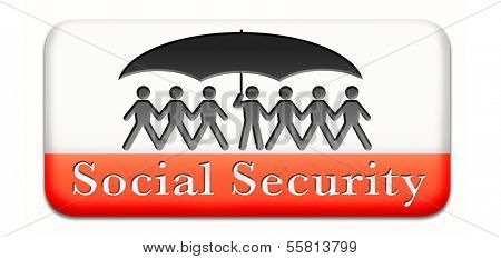 social security services benefit plans for retirement healthcare disability and unemployment paperman silhouette under umbrella