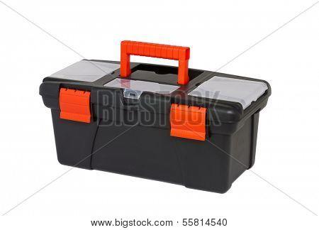 black tool box isolated on white