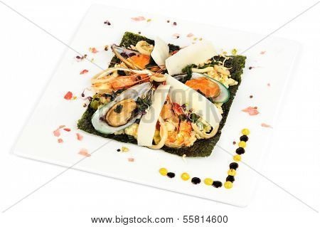 Risotto with seafood, mediterranean and japanese cuisine fusion