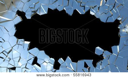 Sharp Pieces Of Blue Smashed Glass And Hole