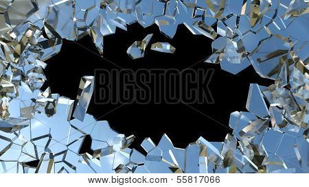 Shattered Or Smashed Glass: Sharp Pieces On Black
