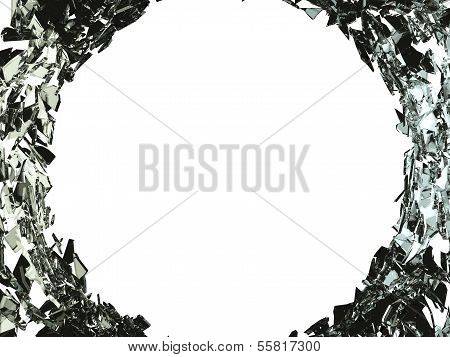 Big Bullet Hole And Shattered Glass On White