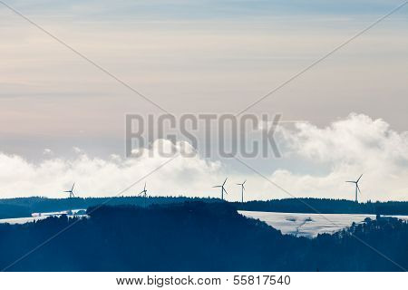 Black Forest Windmill Landscape Germany Europe