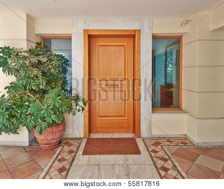 house door and flowerpots, Athens Greece
