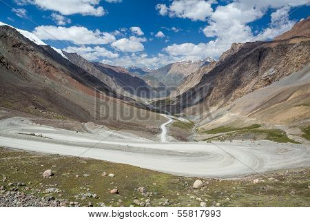Twisting road going to Barskoon pass, Kirghizia