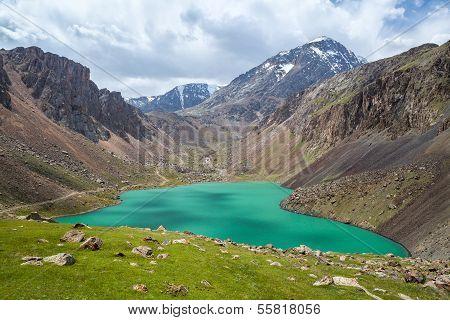 Beautiful lake in Tien Shan mountains, Kirgizstan