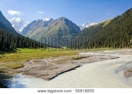 River and high mountain. Tien Shan