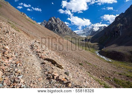Path in amazing Tien Shan mountains