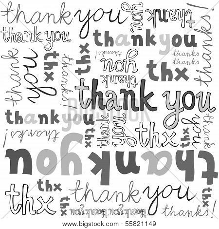thank you gray black white hand written announce on white background typographic seamless pattern