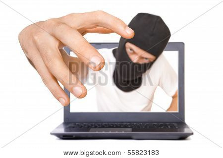 Man In Black Mask Tries To Grab The Viewer From The Screen