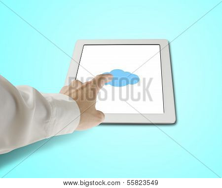Hand Touching Cloud Shape Icon On Tablet In Green Background