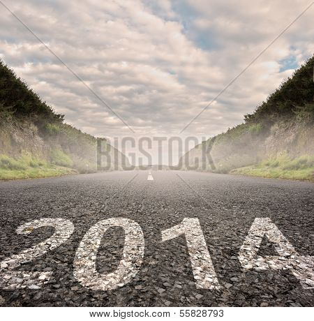 year 2014 painted on asphalt road